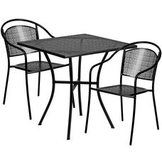 """Commercial Grade 28"""" Square Black Indoor-Outdoor Steel Patio Table Set with 2 Round Back Chairs"""
