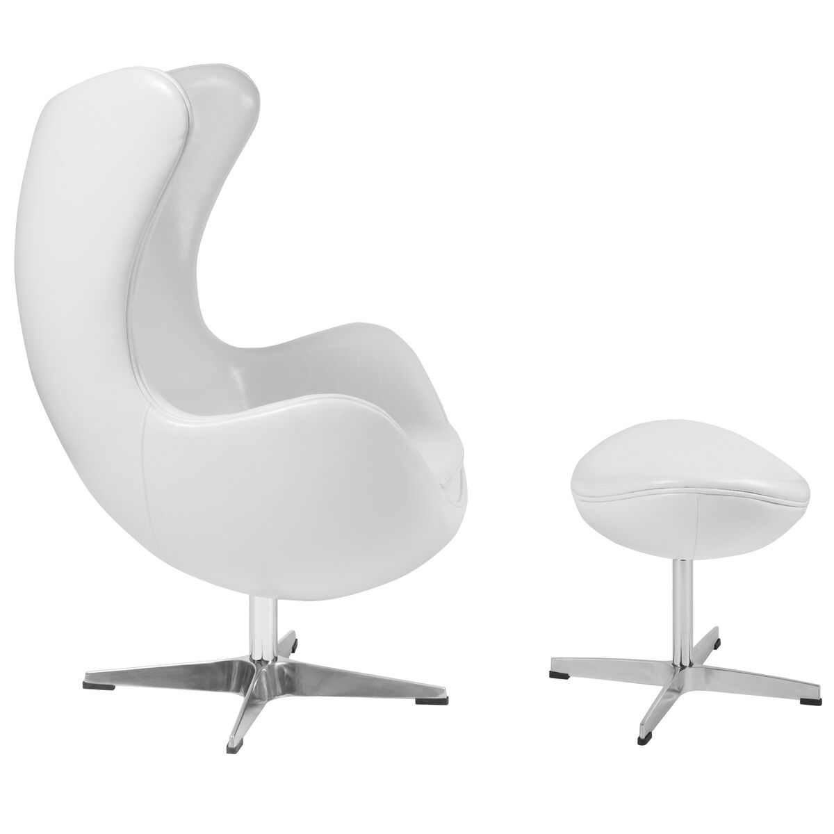 Our Melrose White Leather Egg Chair With Tilt Lock Mechanism And Ottoman Is On