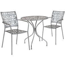 """Agostina Series 27.5"""" Round Antique Silver Indoor-Outdoor Steel Patio Table with 2 Stack Chairs"""