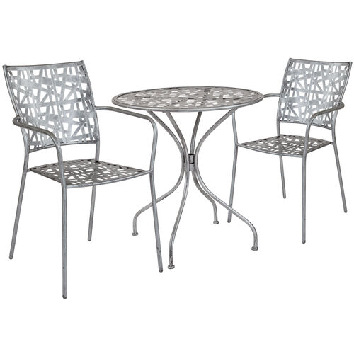 """Our Agostina Series 27.5"""" Round Antique Silver Indoor-Outdoor Steel Patio Table with 2 Stack Chairs is on sale now."""