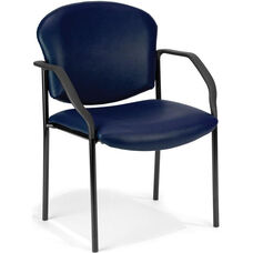 Manor Anti-Microbial and Anti-Bacteria Vinyl Guest and Reception Chair with Arms - Navy Vinyl