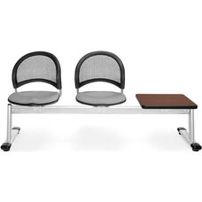 Moon 3-Beam Seating with 2 Putty Fabric Seats and 1 Table - Mahogany Finish