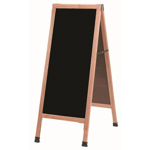 Our A-Frame Sidewalk Black Composition Chalkboard with Solid Red Oak Frame - 42