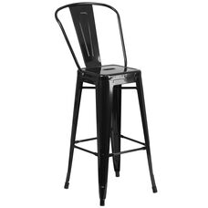 "Commercial Grade 30"" High Black Metal Indoor-Outdoor Barstool with Removable Back"