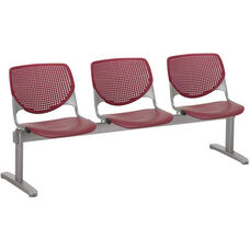 2300 KOOL Series Beam Seating with 3 Poly Perforated Back and Seats with Silver Frame - Burgundy