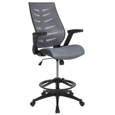 High Back Dark Gray Mesh Spine-Back Ergonomic Drafting Chair with Adjustable Foot Ring and Adjustable Flip-Up Arms