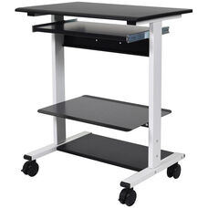 Adjustable Height Mobile Stand-Up Workstation with 3 Shelves and 1 Slide-Out Keyboard Shelf - 29.5''W x 20''D x 34.5''- 45.5''H