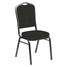 Crown Back Banquet Chair in Cobblestone Pewter Fabric - Silver Vein Frame
