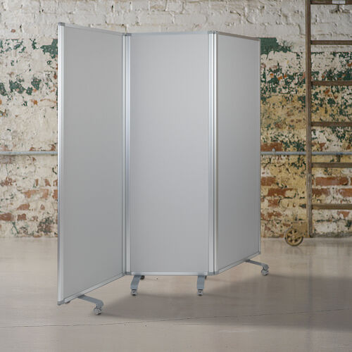 """Double Sided Mobile Magnetic Whiteboard/Cloth Partition with Lockable Casters, 72""""H x 24""""W (3 sections included)"""