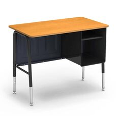 765 Series Jr. Executive Desk with Fusion Maple Laminate Top and Black Frame - 20
