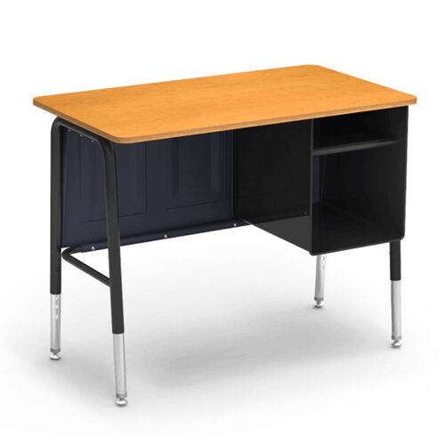 Our 765 Series Jr. Executive Desk with Fusion Maple Laminate Top and Black Frame - 20