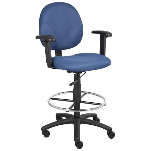 Our Contoured Seat Fabric Drafting Stool with Foot Ring and Adjustable Arms - Blue is on sale now.