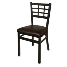 Marietta Metal Window Pane Chair - Dark Brown Vinyl Seat