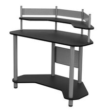 Compact Corner Computer Study Desk - Silver and Black