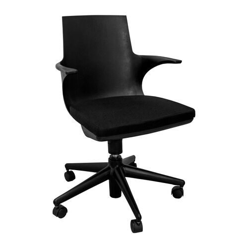 Jaden Black Plastic Rolling Chair with Black Cushion