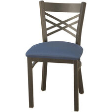 3300 Series Square Steel Frame Armless Cafe Chair with Contoured X-Shaped Back and Upholstered Seat