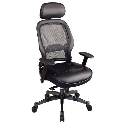 Our Space Professional Breathable Mesh Back and Leather Seat Managers Chair with Headrest is on sale now.