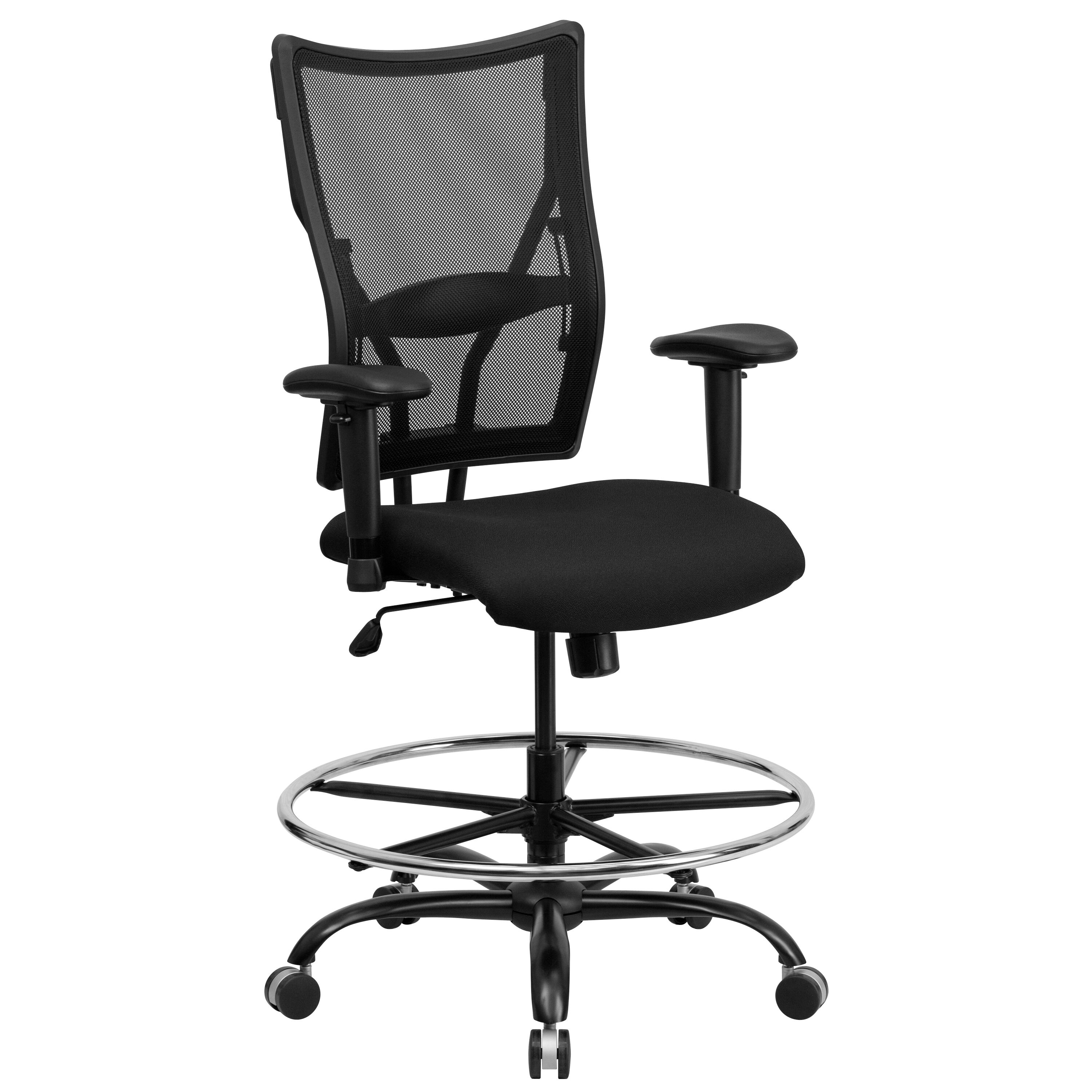 Etonnant Rated Black Mesh Drafting Chair With Adjustable