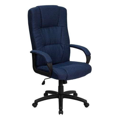 Our High Back Navy Blue Fabric Executive Swivel Office Chair with Arms is on sale now.