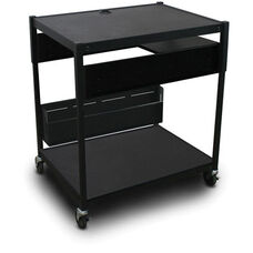 Spartan Series Adjustable Media Projector Cart with One Pull-Out Side-Shelf - Black