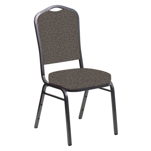 Our Embroidered Crown Back Banquet Chair in Ribbons Cappuccino Fabric - Silver Vein Frame is on sale now.