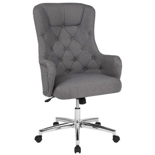 Chambord Home and Office Upholstered High Back Chair in Light Gray Fabric