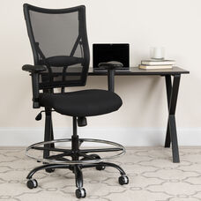 HERCULES Series Big & Tall 400 lb. Rated Black Mesh Ergonomic Drafting Chair with Adjustable Arms