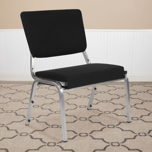 HERCULES Series 1500 lb. Rated Black Antimicrobial Fabric Bariatric Antimicrobial Medical Reception Chair with 3/4 Panel Back