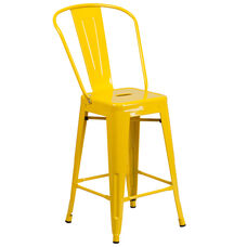 "Commercial Grade 24"" High Yellow Metal Indoor-Outdoor Counter Height Stool with Back"
