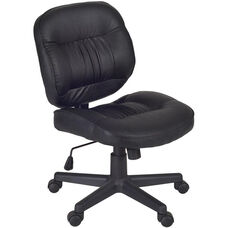 Cirrus Height Adjustable Armless Task Chair with Casters - Black Vinyl