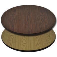 "Advantage 36"" Round Restaurant Table Top - Oak / Walnut Reversible"