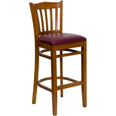 Cherry Finished Vertical Slat Back Wooden Restaurant Barstool with Burgundy Vinyl Seat