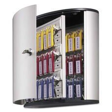 Durable® Locking Key Cabinet - 36-Key - Brushed Aluminum - Silver - 11 3/4 x 4 5/8 x 11