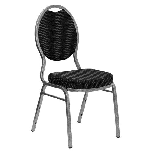 Our HERCULES Series Teardrop Back Stacking Banquet Chair in Black Patterned Fabric - Silver Vein Frame is on sale now.