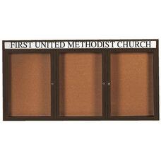 3 Door Indoor Enclosed Bulletin Board with Header and Black Powder Coated Aluminum Frame - 36