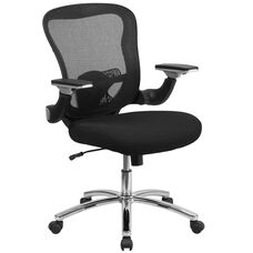 Mid-Back Black Mesh Executive Swivel Ergonomic Office Chair with Height Adjustable Flip-Up Arms