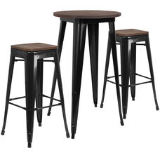 """24"""" Round Black Metal Bar Table Set with Wood Top and 2 Backless Stools"""