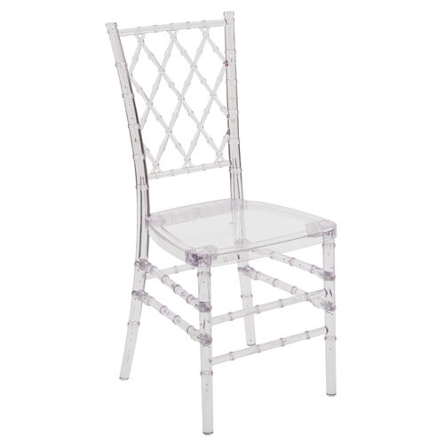 "Flash Elegance Crystal Ice Stacking Simplicity Chair with <span style=""color:#0000CD;"">Free </span> Cushion"