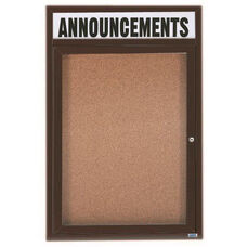 1 Door Indoor Enclosed Bulletin Board with Header and Bronze Anodized Aluminum Frame - 24