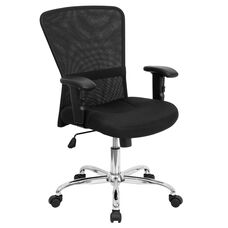 Mid-Back Black Mesh Contemporary Swivel Task Office Chair with Chrome Base and Adjustable Arms
