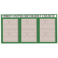 3 Door Outdoor Enclosed Bulletin Board with Header and Green Powder Coated Aluminum Frame - 48
