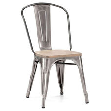 Dreux Clear Gunmetal Stackable Steel Side Chair with Light Elm Wood Seat - Set of 4