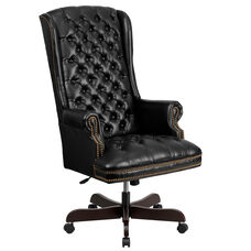 High Back Traditional Fully Tufted Black LeatherSoft Executive Swivel Ergonomic Office Chair with Arms