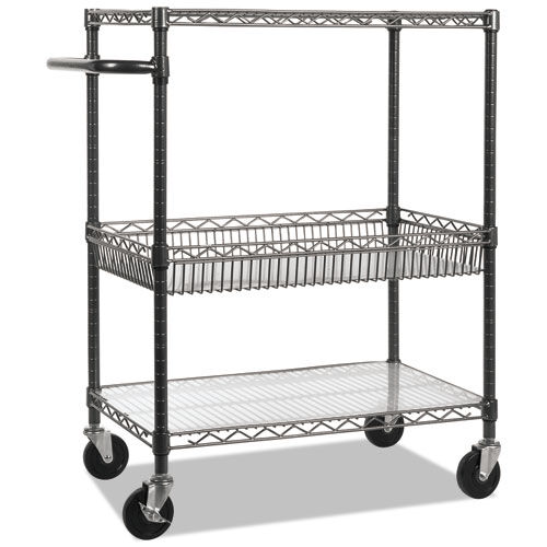 Our Alera® Three-Tier Wire Rolling Cart - 28w x 16d x 39h - Black Anthracite is on sale now.