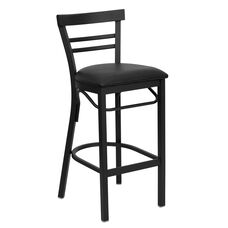 HERCULES Series Black Two-Slat Ladder Back Metal Restaurant Barstool - Black Vinyl Seat