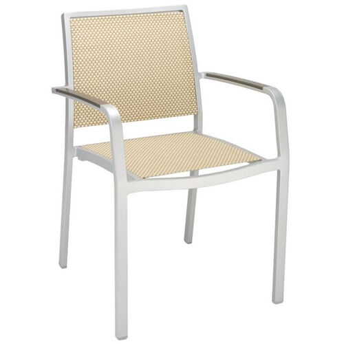 South Beach Collection Stackable Aluminum Outdoor Arm Chair with Textile Back and Seat - Light Basket