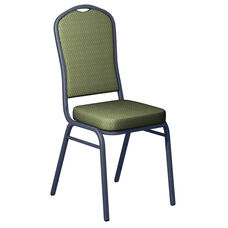 Embroidered Biltmore Alfalfa Fabric Upholstered Crown Back Banquet Chair - Silver Vein Frame