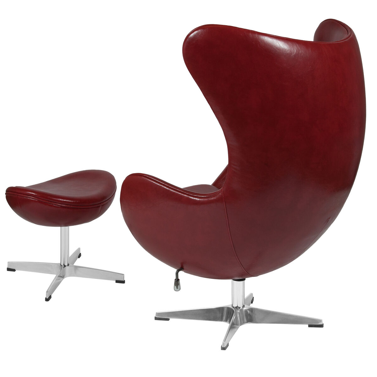 Our Cordovan Leather Egg Chair With Tilt Lock Mechanism And Ottoman Is On Now
