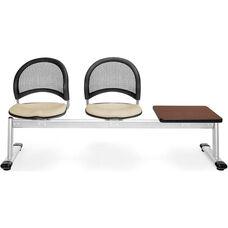 Moon 3-Beam Seating with 2 Khaki Fabric Seats and 1 Table - Mahogany Finish