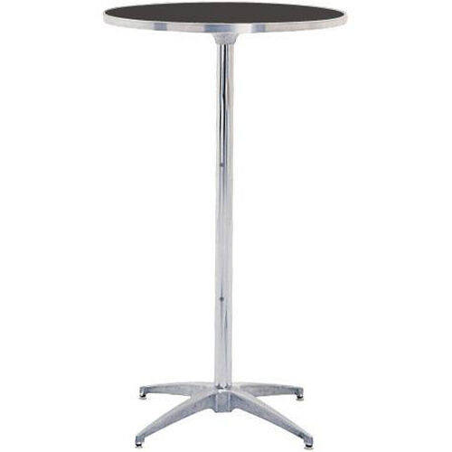 Standard Series Height Adjustable Round Pedestal Table with Chrome Plated Steel Column and Laminate Top - 24